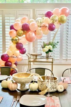 Don't miss this gorgeous Thanksgiving party! The balloon garland is so beautiful! See more party ideas and share yours at CatchMyParty.com #catchmyparty #partyideas #thanksgiving #thanksgivingparty