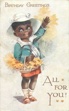 BIRTHDAY GREETINGS, ALL FOR YOU! black boy carrying yellow flowers, waving