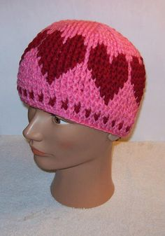 Hearts Hat Valentines Day Hat Crochet by EnchantingCreations7