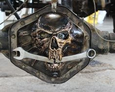 custom hand made tig welded metal skull gm 14 bolt differential cover give a call to have one made custom rat rod truck chevy chevy ford dodge toyota jeep rat rod dana differential cover custom Custom Rat Rods, Custom Trucks, Custom Cars, Truck Mods, Truck Parts, Car Mods, Metal Skull, Metal Art, Skull Art