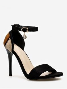 0e38534eeea Chic Stiletto Heel One Strap Color Block Sandals for Party