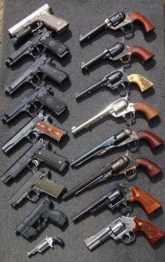 Glock 17, Beretta FS92/ M9, Colt 1911, Walther P99, Colt peace maker.