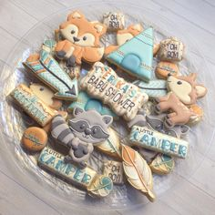 Tribal woodland decorated cookies! #madriscookiekitchen Fancy Cookies, Cute Cookies, Fox Cookies, Sugar Cookies, Tribal Baby Shower, Baby Boy Shower, Baby Shower Parties, Baby Shower Themes, Shower Ideas