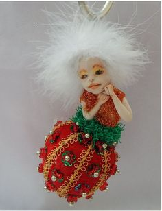 Christmas OOAK Fairy Ornament Fairies Holiday Decorations Green Red Angel http://www.ebay.com/itm/-/152333428485?