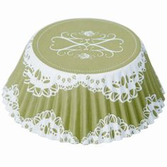 Green Elegant Lace Cupcake Liners   lace design on top and bottom - Kitchen Krafts