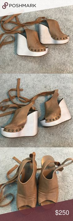 Chloe Wedges Super super cute Chloe wedges with long straps that wrap around and tie at the ankles. I love these shoes but they're a bit small on me so I've finally decided to sell them. Chloe Shoes Platforms