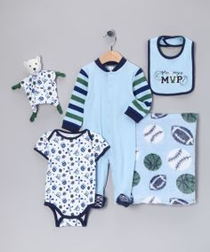 For every athlete-to-be, this sports set preps baby for a big game or the seventh-inning stretch! Ready for an overnight trip or a simple day in, this set, complete with a garment bag and plush buddy, will tackle the many wardrobe changes at the field.Includes bib, bodysuit, footie, blanket, plush toy, and tulle garment bagBlanket: 30'' x 24''100% cottonMachine wash; tumble dryImported