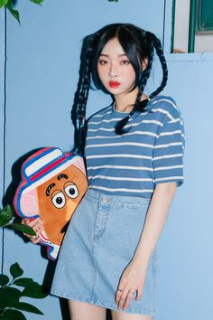 #mixxmix Basic A-Line Denim Mini Skirt (BZXW) This denim skirt has a fun, urban vibe best incorporated into basic wear. #mxm #hideandseek #has #365basic #bauhaus #99bunny #heartclub #younggirlsfashion #koreanfashiontrend #streetfashion #dailyoutfit #koreanfashionstore #twinlook #twinslook #sisterlook