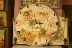 Clock with decoupage-Ρολόι με decoupage