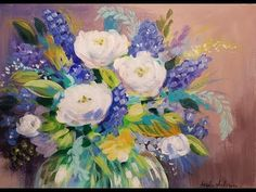 Impressionist Abstract Flowers Acrylic Painting Tutorial LIVE Beginner Step by Step Lesson - YouTube