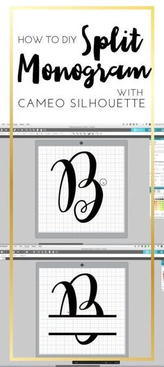 How to DIY Split Monogram With Cameo Silhouette Studio by C. Design How to DIY Split Monogram with Came Silhouette. How to make Split monogram by yourself! Cameo Silhouette and split monogram. Silhouette Cameo Tutorials, Cajas Silhouette Cameo, Plotter Silhouette Cameo, Silhouette Curio, Free Silhouette Designs, Silhouette Cameo Freebies, Free Silhouette Files, Silhouette Design Studio, Silhouette Cameo Shirt