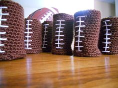 Football Beer Cozies- Crochet    Make into arm cuffs for football game!
