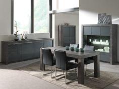Salle à manger complète gris laqué moderne MURILO