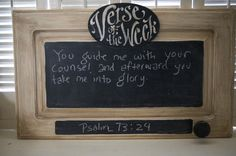 Antiqued Cabinet Verse of the Week Chalkboard - Scripture Memory - Bible Verse - quote by kijsa on Etsy