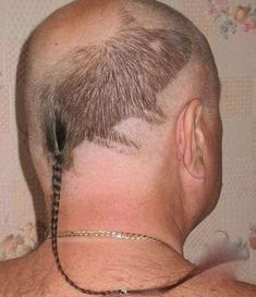 Redneck Rat Head Haircut with Tail - Hair Art Fail ---- hilarious jokes funny pictures walmart humor fails
