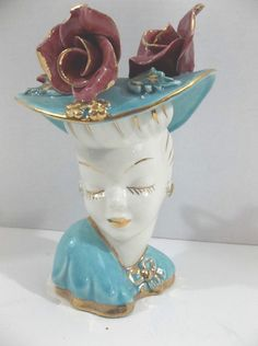 Vintage Lady Head Vase with Flower on the Hat