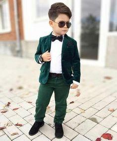 Bespoke Green Velvet Boy Proms Suit Ceremony Formal Wear Child Evening Tuxedos