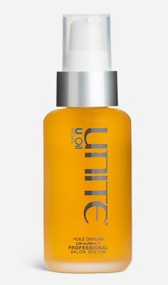 Unite Salon sells their huile d'argan for hair which is pretty much near perfect. Add a drop or two of the pure argan oil to damp hair for soft, shiny locks and protection while using hot tools. $48 for 3.3 oz at
