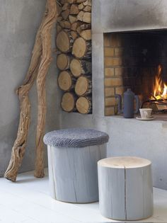 Painted stumps - an easy seat that can match your room perfectly!