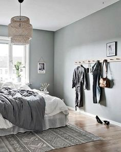 36 Stunning Modern Scandinavian Bedroom Design And Decor Ideas - Popy Home Scandinavian Bedroom Decor, Home Decor Bedroom, Bedroom Furniture, Scandinavian Apartment, Bedroom Ideas, Scandinavian Design, Bedroom Designs, Bedroom Inspiration, Cheap Furniture