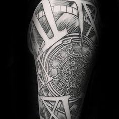 Amazing Pocket Watch Guys Roman Numeral Sleeve Tattoo Design Ideas