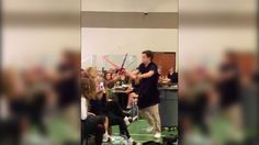 Young Jedis fight an impressive lightsaber battle in a school cafeteria