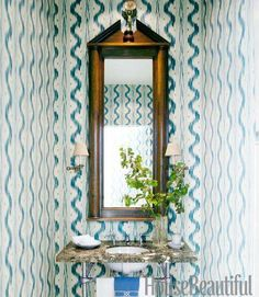 Awesome - Pierre Frey Toile de Nantes ikat wallpaper in shades of blue cover the walls of a small powder room in a Los Angeles home. HB via COCOCOZY Powder Room Small, Decor, Bathroom Colors, Powder Room Decor, Powder Room Wallpaper, Painting Bathroom, White Rooms, Bathroom Paint Colors, Half Bath Decor