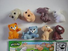Kinder Surprise Set - Natoons Pets Babys Cute Couples Felt - Complete Series Vintage Figures Figurines Toys Eggs Miniatures Collectibles