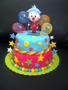 Torta Payaso Plin-Plin Carnival Birthday Parties, Circus Birthday, Birthday Cake Girls, Birthday Party Decorations, 2nd Birthday, Clown Party, Circus Party, Bolo Fack, Minnie Mouse Birthday Cakes