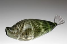 "Hald Fish  Designer: 	Hald, Edward  Producer: 	Orrefors  Year: 	1957  Size: 	h.9cm/3,5"" w.28cm/11""    Glass fish in the `graal´technique. Engraved eye. Signed Orrefors Grall No 1440"