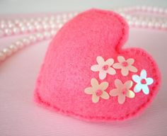 Shocking pink and luminous flower sequins felt by TheFrenchKnots, $10.00