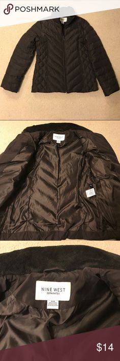 NINE WEST DARK BROWN PUFFER COAT Gently worn and in great shape.  Zippers work fine.  Two side hidden pockets.  No rips or stains.  Smoke free home.  No trades please.  BUNDLE 3 OR OR MORE ITEMS AND SAVE 20%! Nine West Jackets & Coats Puffers