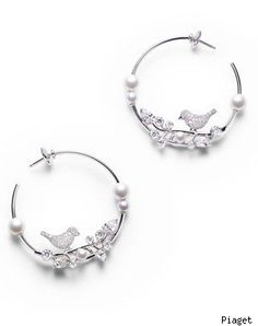 Piaget Limelight Garden Party Collection 18-carat white gold, diamond and pearl earrings
