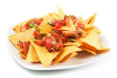 Tomato and chips dish inside