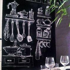 Vantagens e desavantagem da parede lousa - A Casa que a minha Vó queriaA Casa que a minha Vó queria Kitchen Blackboard, Blackboard Art, Chalkboard Lettering, Chalkboard Designs, Chalk Wall, Cafe Design, Restaurant Design, Art Boards, Wall Art