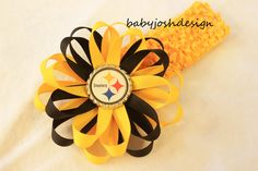 NFL Pittsburg steelers Bottle Cap Hair Bow   wrong team but still adorable