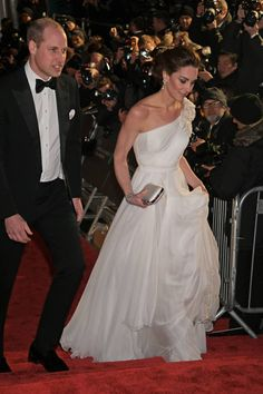 Prince William, Duke of Cambridge and Catherine, Duchess of Cambridge attend the EE British Academy Film Awards at Royal Albert Hall on February 2019 in London, England. Get premium, high resolution news photos at Getty Images British Academy Film Awards, Duke Of Cambridge, Princess Kate, Duke And Duchess, Prince William, Kate Middleton, Strapless Dress Formal, One Shoulder Wedding Dress, White Dress