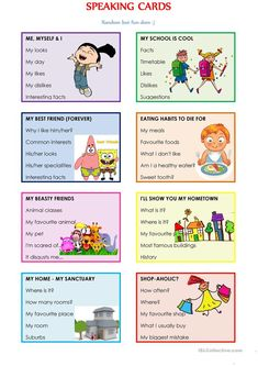 SPEAKING CARDS (Random but fun-dom) - English ESL Worksheets for distance learning and physical classrooms English Activities For Kids, Learning English For Kids, English Worksheets For Kids, English Lessons For Kids, English Language Learning, English Class, Teaching English, Learn English, Spanish Activities