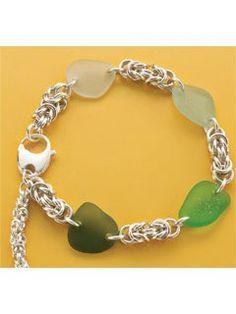 Maluaka Bracelet with sea glass | InterweaveStore.com