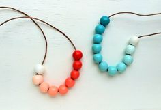 Ombre Boho Wooden Bead Necklace / blue and orange by prettyinc, $45.00