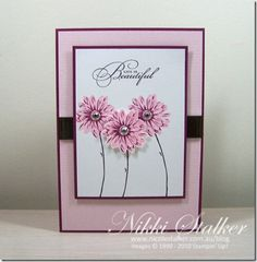 Greenhouse Garden 2 step set, with R Razzleberry and Pretty in Pink - nice, clean card - thanks Nikki