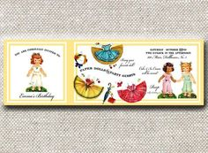 "Loralee Lewis, ""You are a Doll"" Collection, Trifold Invitation for your birthday party."