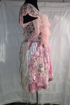 upcycled clothingskirt pinkspring fashion beads by radusport, $98.00