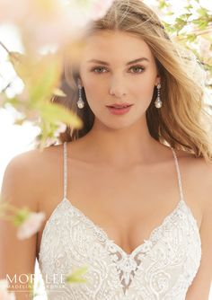 Morilee | Madeline Gardner, Lara Style 6895 | Sexy, Soft Net Mermaid Wedding Gown Accented with Beaded Embroidery. A Strappy Open Back Completes the Look. Colors Available: White, Ivory, Ivory/Nude