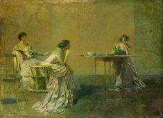 """Thomas Wilmer Dewing """"The Gossip""""  A man painting rich women in domestic settings."""