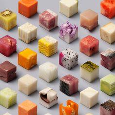 Dutch artists Lernert and Sander cut raw food into 98 perfect 2.5 x 2.5 x 2.5 cm cubes, creating a tantalizing geometric display.