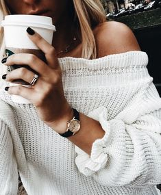 Pretty white off the shoulder ruffled knit sweater.