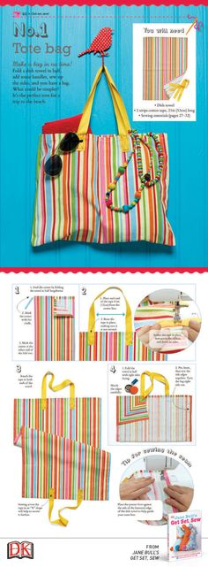 A few easy steps on how to sew your dish towel and create the perfect summer tote bag.