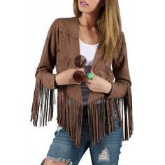 Stylish Women's Pure Color Long Sleeve Fringed Decorated Jacket