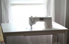 Sewing tables machine How to countersink your sewing machine into a table DIY IKEA Sewing Table Tutorial from Marta with Love Diy Sewing Table, Sewing Machine Tables, Diy Table, Dining Table, Table Desk, Ikea Table, Sewing Machines, Ikea Dining, Sewing Spaces